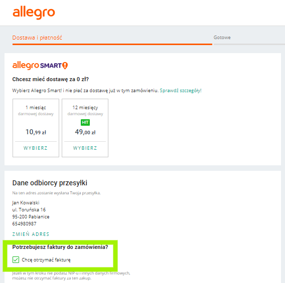 Czy mogę dostać fakturę na Allegro?