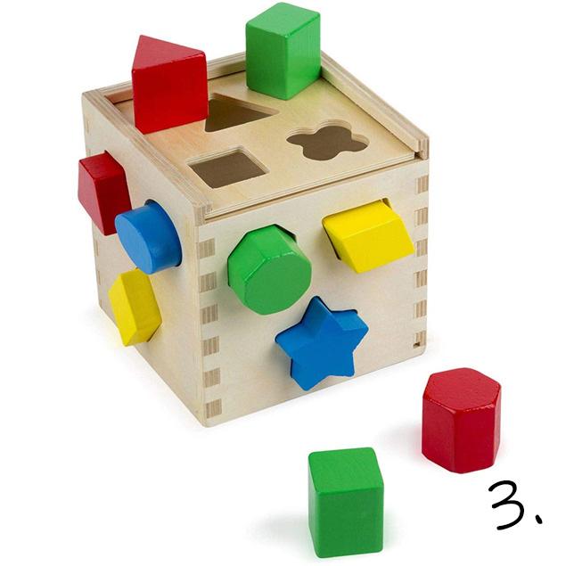 Drewniany sorter kształtów - prezent na roczek