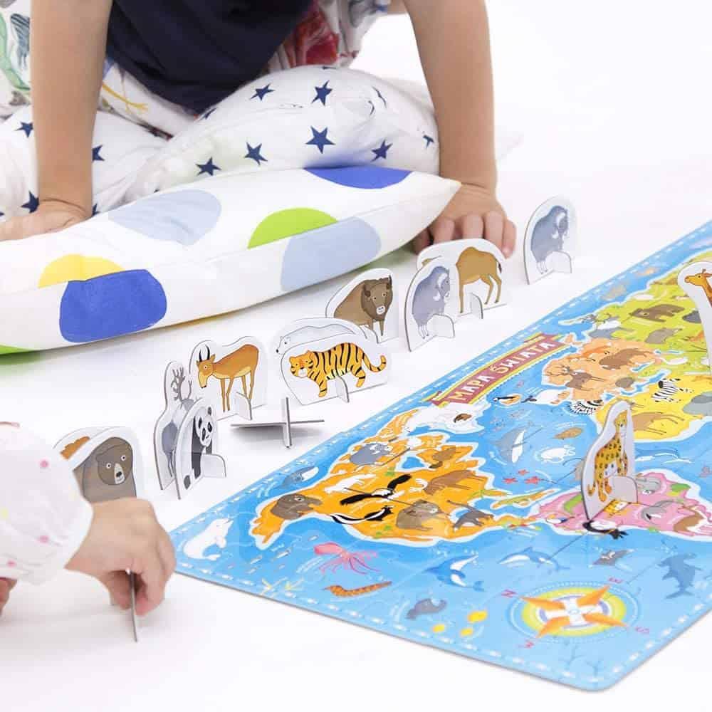 puzzle dla dzieci - mapa świata czuczu